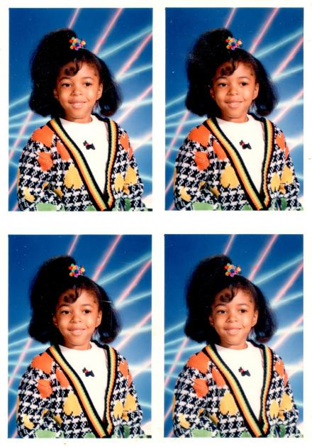 School photo collage of Sharee in second grade with her hair in a pony tail.