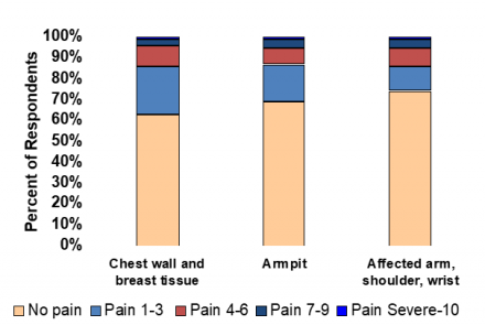 Bar chart illustrating areas of pain and pain severity for women with Postmastectomy Pain Syndrome (PMPS)